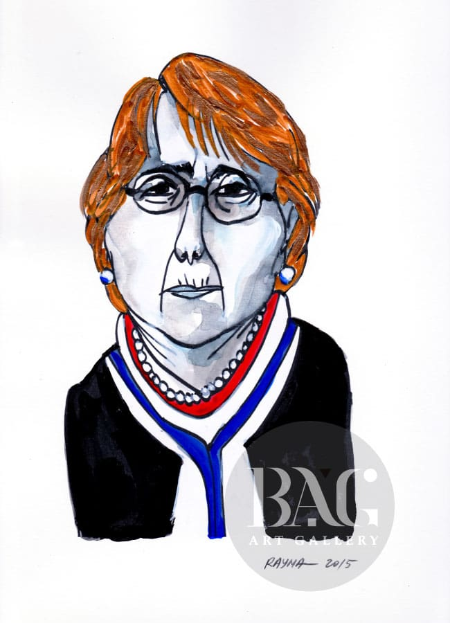 Rayma Cartoons Michelle Bachelet at BAG